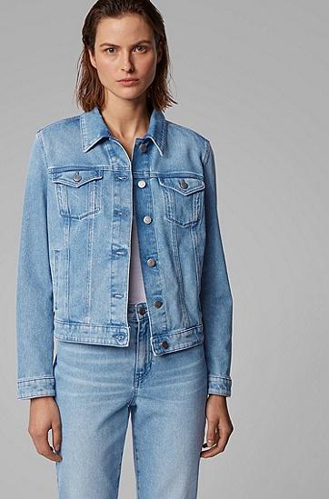 女士常规版型日光漂白弹力牛仔布夹克,  430_亮蓝色