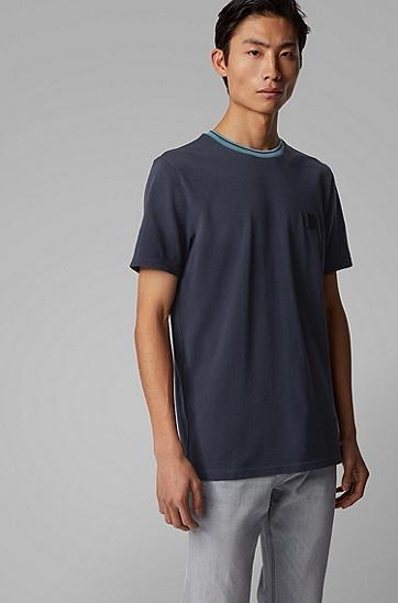 男士撞色领圈棉质珠地布 T 恤,  402_暗蓝色