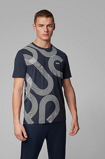 男士徽标印花弹力棉 T 恤,  410_海军蓝色