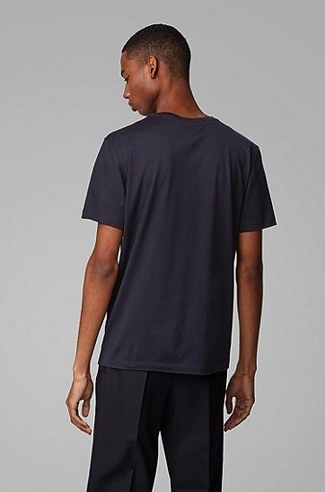 男士照片印花丝光棉圆领 T 恤,  402_暗蓝色