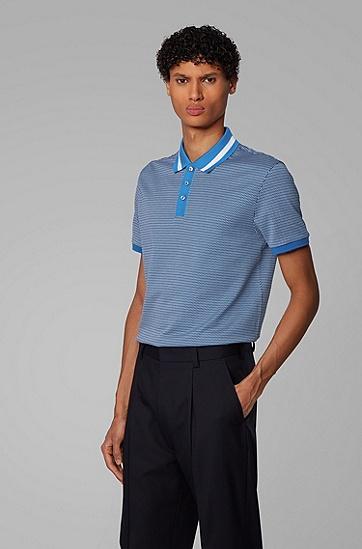 男士三色图案修身 Polo 衫,  426_中蓝色