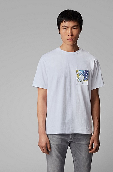 男士自然主题艺术印花宽松版型棉 T 恤,  100_白色