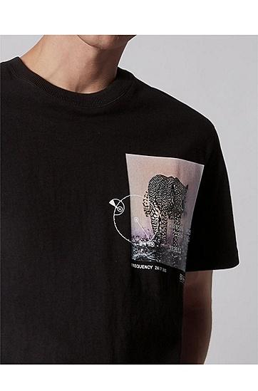 男士系列主题艺术印花宽松版型棉 T 恤,  001_黑色