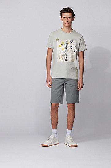 男士无 PVC 照片印花纯棉可回收 T 恤,  043_银灰色