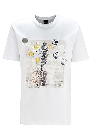 男士无 PVC 照片印花纯棉可回收 T 恤,  100_白色