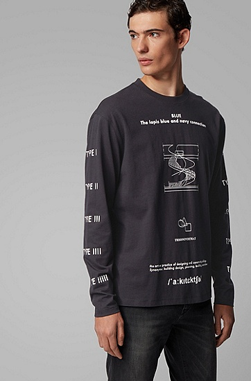 男士系列主题艺术印花长袖棉 T 恤,  001_黑色
