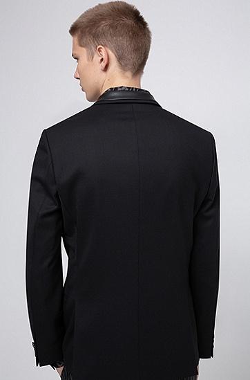 男士修身羊毛混纺西装外套,  001_黑色