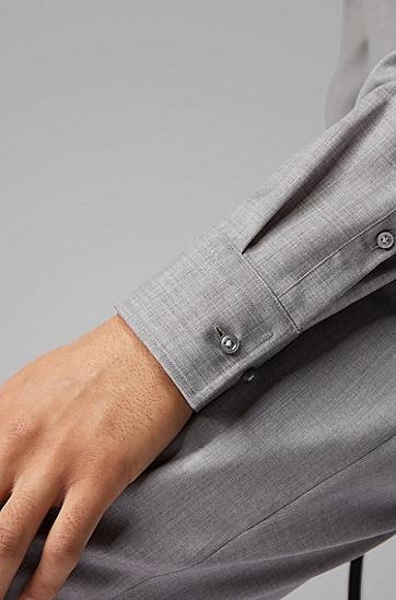 男士可溯源初剪羊毛修身衬衫,  042_银灰色