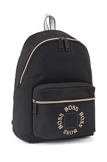 男士层叠金属徽标纹理尼龙背包,  001_黑色