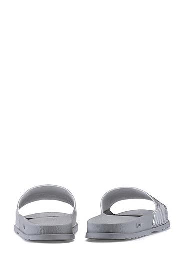 男士纹理金属带徽标刺绣拖鞋,  040_银灰色