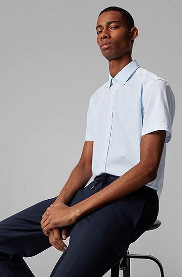 男士纵条纹棉泡泡纱修身衬衫,  450_浅蓝色