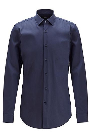 男士微结构弹力面料超修身衬衫,  410_海军蓝色