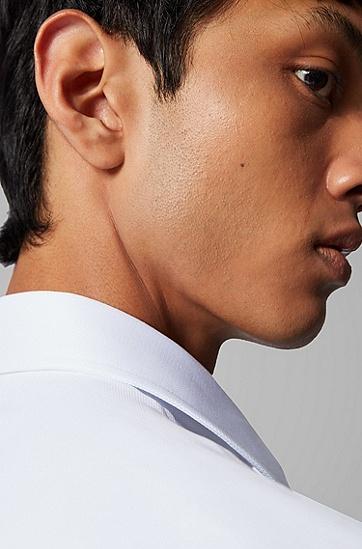 男士微结构意大利棉修身衬衫,  100_白色