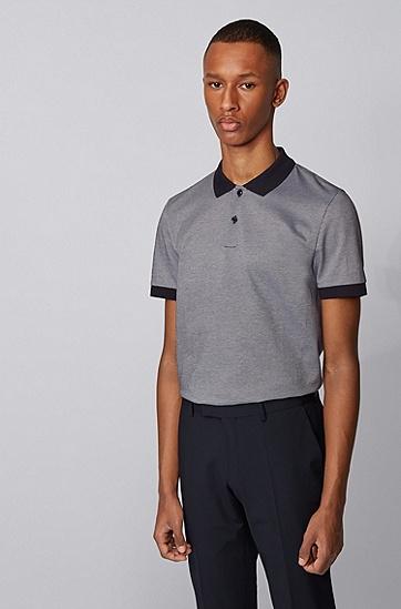 男士微图案装饰棉质修身 Polo 衫,  402_暗蓝色
