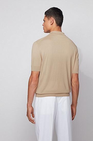 丝绸混纺反领短袖毛衣,  277_浅米色