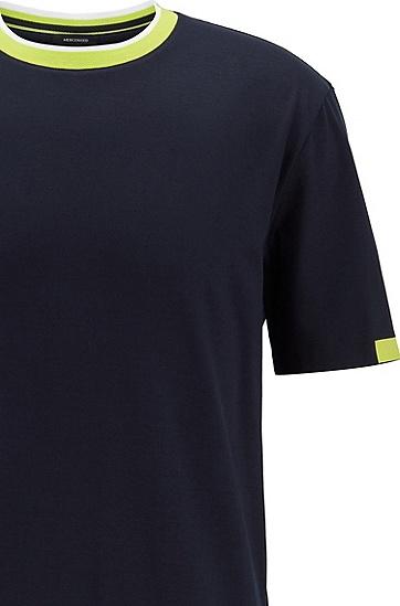 饰以撞色细节的弹力棉 T 恤,  402_暗蓝色