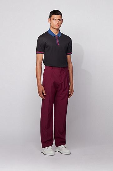 粗条纹棉质修身 Polo 衫,  001_黑色