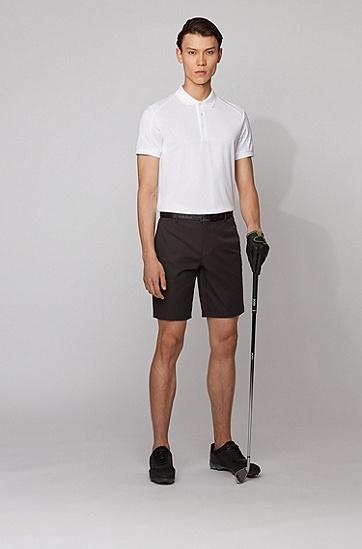防水斜纹布修身短裤,  001_黑色