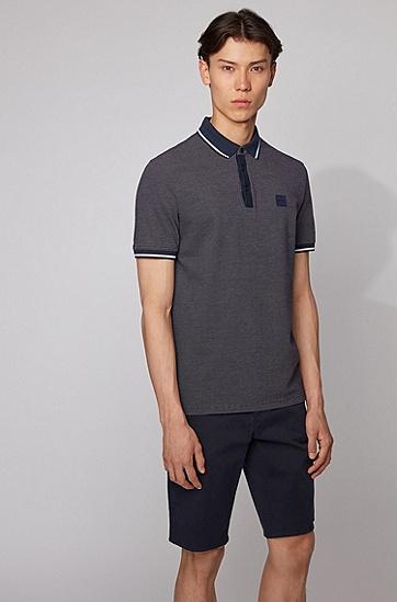 男士混色棉质珠地布常规版型 Polo 衫,  404_暗蓝色