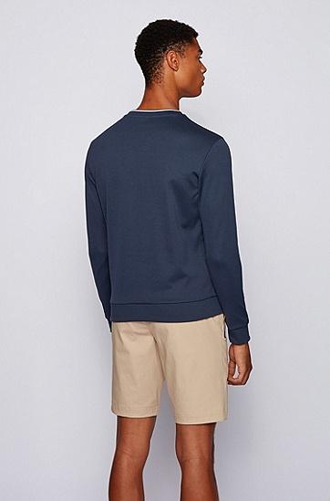 撞色徽标印花圆领运动衫,  411_海军蓝色
