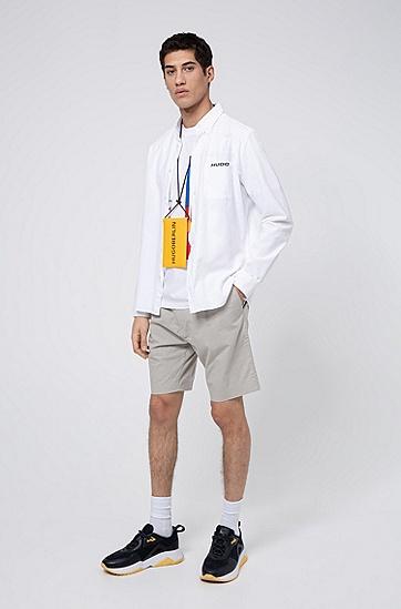 男士系列主题艺术印花宽松版型棉 T 恤,  100_白色