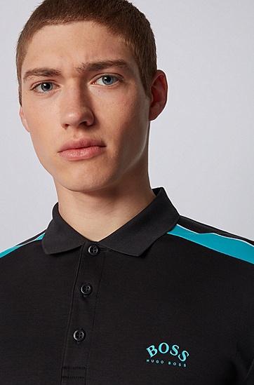 条纹衣袖棉质修身 Polo 衫,  001_黑色