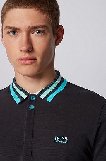 条纹网状衣领棉质珠地布 Polo 衫,  001_黑色
