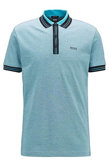 三色微纹棉质珠地布 Polo 衫,  001_黑色