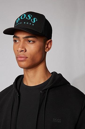 网眼效果弧形徽标平针织运动帽,  001_黑色
