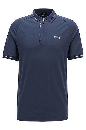 S.Café® 面料细条纹镶片修身 Polo 衫,  410_海军蓝色