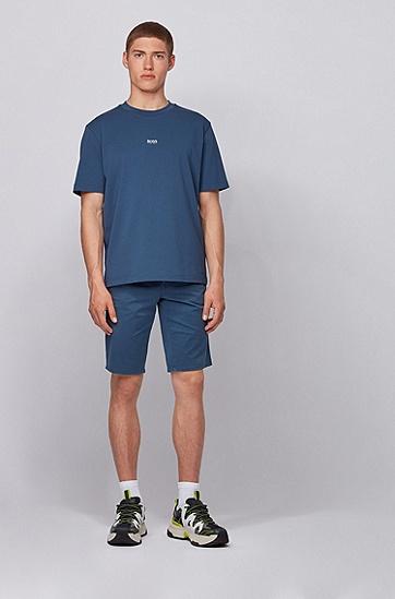 轻盈弹力棉斜纹布修身休闲短裤,  414_海军蓝色