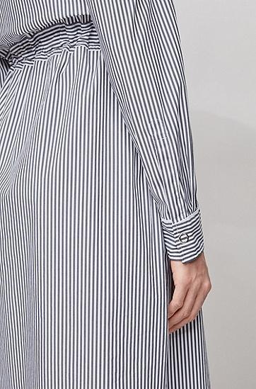 弹力棉混纺条纹衬衫裙,  466_淡蓝色