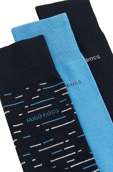 男士棉混纺中长袜三双礼盒装,  401_暗蓝色
