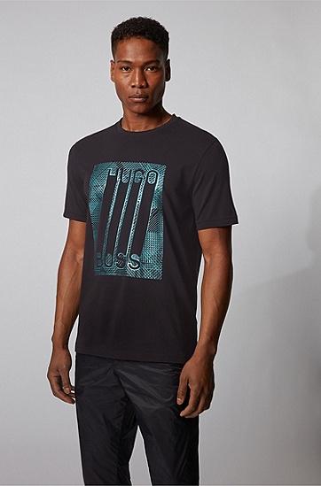 图案徽标印花弹力棉 T 恤,  001_黑色