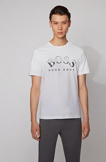 弧形徽标印花非洲棉 T 恤,  100_白色