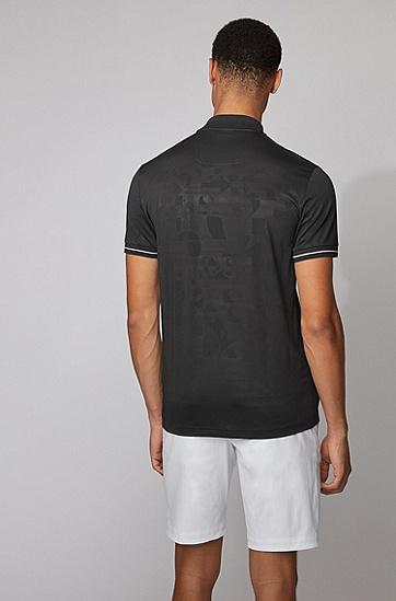 同色系徽标图案棉质混纺 Polo 衫,  001_黑色