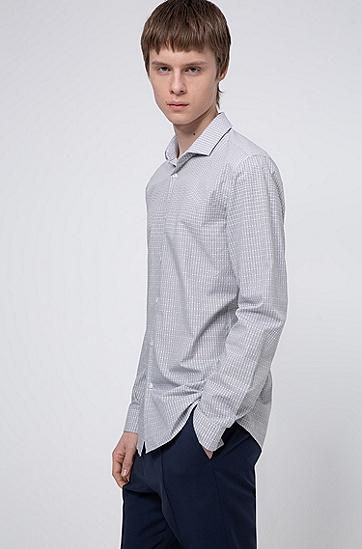 新季徽标图案超修身棉衬衫,  001_黑色
