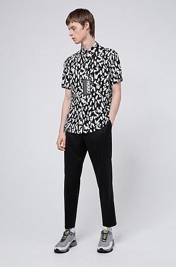 通体抽象印花宽松拌扣领衬衫,  001_黑色