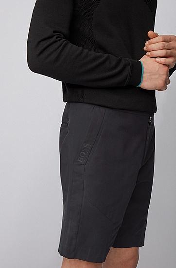 拼接结构弹力棉短裤,  001_黑色