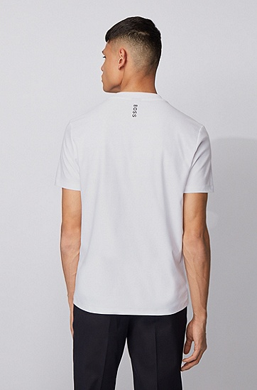 新季印花圆领棉 T 恤,  100_白色