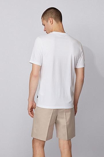 3D 新季印花棉质修身 T 恤,  100_白色