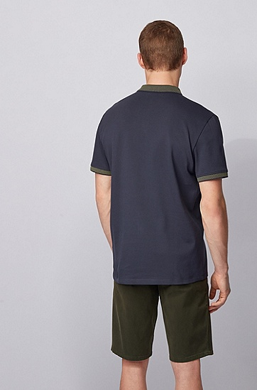波点图案装饰修身 Polo 衫,  404_暗蓝色