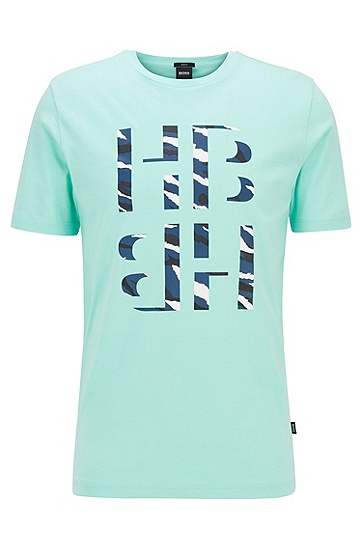 3D 动物印花字母组合修身版 T 恤,  352_淡绿色