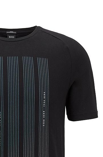 S.Café® 面料徽标图案修身 T 恤,  001_黑色