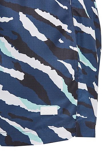 抽象老虎图案速干游泳短裤,  461_淡蓝色