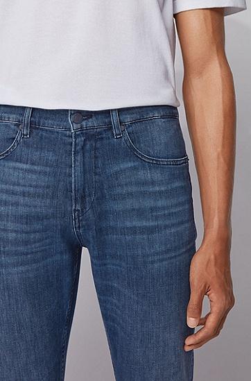 轻量意大利弹力牛仔布修身牛仔裤,  422_中蓝色
