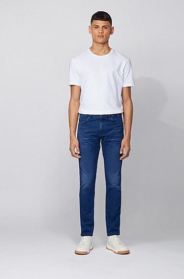 深蓝色意大利弹力牛仔布修身牛仔裤,  444_水蓝色