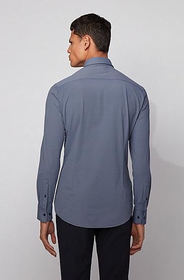 弹力结构化面料修身衬衫,  402_暗蓝色