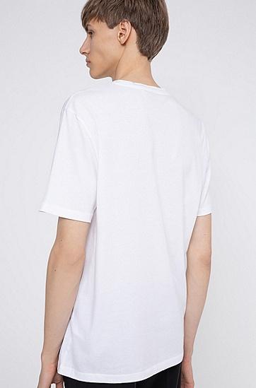 有机棉平针织徽标印花 T 恤,  100_白色