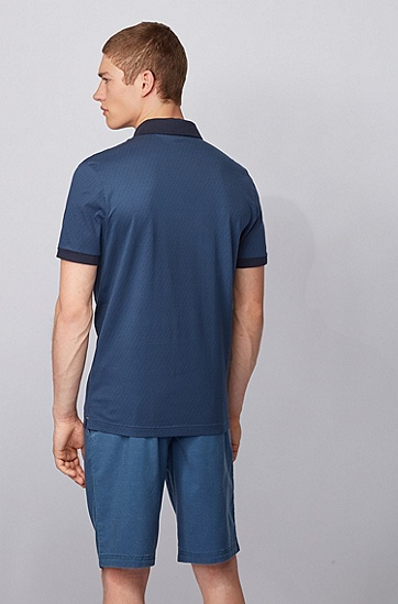 徽标印花棉质平针织面料 Polo 衫,  414_海军蓝色